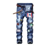 Mens Jeans Nuovo afflitto Ripped Wshaed Skinny Slim Etero jeans di moda Moto Moto Biker patch distintivo pantaloni del denim