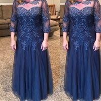 Navy Blue scollo Madre del vestito da sposa pavimento-lunghezza tulle con perline paillettes A-Line Plus Size madre Dress vestidos de Noivas