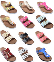 new color Genuine Leather Slipper women Flat Sandals mens Sh...