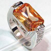 SHUNXUNZE excelentes críticas anillos de compromiso lindo para las mujeres romántico estilo de las mujeres de la joyería regalo Champagne Cubic Zirconia tamaño rodio plateado R334 6