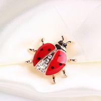 Kristall Marienkäfer Brosche Pins Emaille Insekt Revers Pin Corsage Modeschmuck Für Männer Frauen Weihnachtsgeschenk Will und Sandy