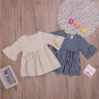 Robes bébé filles d'été 2 couleurs fille ronde col manches de corne à rayures Robe bicolore princesse jupe vêtements design enfants filles JY488