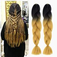 Ombre Jumbo sintetico intrecciare i capelli due o tre tonalità di colore capelli Neri Marrone Jumbo Trecce rinfuse estensioni 24inch Ombre Box trecce di capelli