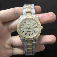 Strap Automática Relógios Mecânicos de aço inoxidável Ice diamante relógio de ouro diamante mostrador do relógio Árabe Digital Escala Assista Men