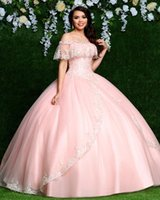 2020 Pink Ball Gown Quinceanera Dresses Embroidery Off Shoulder Party Gowns vestidos de quinceañera vestidos de 15 años