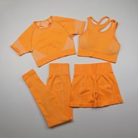 4 Stück Frauen-nahtlose Yoga Set Workout Sportwear Short Sleeve Gym Kleidung Fitness Crop Top High Waist Gamaschen Sportanzüge