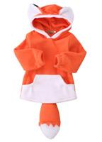 Cartoon Fox Baby Jungen Mädchen Kinder Mantel Hoodie Jacke Pullover Pullover Outwear Polar Fleece Cartoon Hoodie Mantel Warme Fox Jacke
