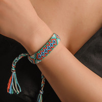 خمر بوهو نيبال العرقية اليدوية سوار ملون شاطئ جديلة سلسلة القطن التفاف المنسوجة حبل الصداقة أساور للنساء الرجال المجوهرات