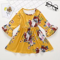 Moda Primavera Autunno Bellezza Ragazze Baby Floral Dress Yelllow New Dress Floral Flower Stampa Princess Dress Inghilterra Style