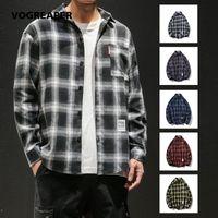 Streetwear Style Hombres sueltos moda camisetas de la moda Hip Hop Oversize Botón coreano abajo Camisa casual de manga larga 4xl 5xl