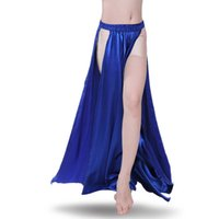 Cheap Nice Performance Belly Dance Satin Skirt 2-sides Slits Sexy Women Oriental Belly Dance Skirt Female Dance Skirt