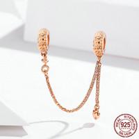 Las mujeres de oro rosa 925 cadena de plata esterlina Claro Seguridad CZ 14K Rose plateó encajar los granos de Pandora pulsera de DIY que hace joyería