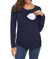 Otoño sólido ocasional azul de manga larga de algodón maternidad Madre Se duplicó la camisa en capas de enfermería superior mujeres que amamantan Tee Tops