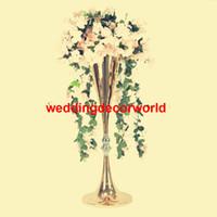 Uzun boylu Altın Düğün Çiçek Vazo Bling Masa Merkezinde Köpüklü Düğün Dekorasyon Ziyafet Yol Kurşun decor260