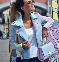 diyagonal fermuar ceket kadın apolet tasarım yaka palto dikiş Kontrast renkli kadın ceketi ilkbahar ve sonbahar çok renkli