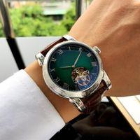 손목 시계 디자이너 시계 자동 무브먼트 45 * 15mm 3 핀 tourbillon 가죽 스트랩 316 스테인레스 스틸 망 고품질 1