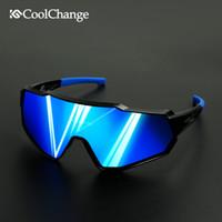 Coolchange polarisierte einen.Kreislauf.durchmachengläser Laufen Reiten UV400 Bike Sonnenbrillen Outdoor Sports MTB Fahrradbrillen Brillen Männer Frauen T191212