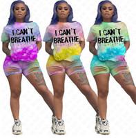 Eu não posso respirar mulheres ternos Eu não posso respirar tie-tintura letras tracksuits verão t-shirt ondulação buracos shorts dois pedaços conjuntos de roupa melhor d61707