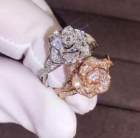 Мода элегантные женщины ослепительно цветок кольцо CZ Циркон Юбилейное кольцо высокое качество Delicated Кристалл обручальные кольца