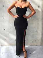 Sexy Vestidos de promesas de sirena negra simples sin tirantes baratos Abendkleider Vestidos de noche Robe de Soiree Vestido de dama de honor larga Vestido de Fiesta