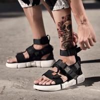 패션 여름 남성 검투사 샌들 오픈 발가락 플랫폼 비치 샌들 부츠 로마 스타일 블랙 그레이 캔버스 샌들 드롭 선박 CX200616 신발
