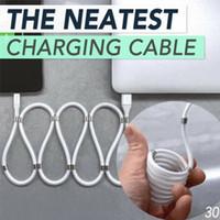 Absorption magnétique facile de stockage Pas nodosité Blanc données 1m Câble durable stable portable pour Android Type C