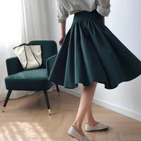 Sherhure 2020 Kadınlar Yüksek Bel Yaz Pamuk Midi Etek Saia Vintage Kadınlar A-Line Şık Etek Faldas Jupe Femme