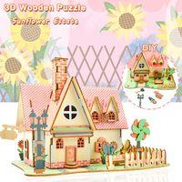Holz 3D Hausbau Puzzles Spielzeug für Kinder DIY Sunflower Manor Modell Kits Pädagogische Geschenke Desktop Wohnkultur