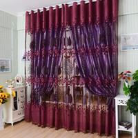 Bordados quarto Floral Janela Tulle Triagem Cortina Drape Cachecóis Valances curtian para sala de estar Quarto