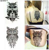 Nu-TATY Мудрая Сова две Временные Татуировки Боди-Арт Флэш Татуировки Наклейки 12 * 20см Водонепроницаемый Поддельные Татуировки Стайлинга Автомобилей Стикер Стены