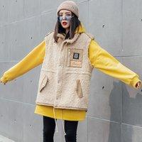 TVVOVVIN твердые кашемировый жилет пальто женщина 2019 зима толстые пальто без рукавов отложным воротником свободные кашемировый жилет QYF1260