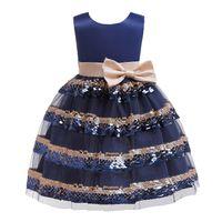 ac87e00de4 2019 Girls Summer Sequins Big Bow Sleeveless Princess Dress Kids ...