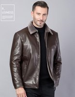 Leather jacket for men Leather winter Jacket for menPU leather jacket for men Dad winter coat fur integrated with velvet th