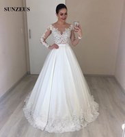Appliques Illusion Bodice Long Sleeves Bridal Dresses 2019 E...