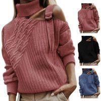 여자 스웨터 콜드 어깨 따뜻한 탑 쇼핑 단단한 긴 소매 니트 터틀넥 파티 캐주얼 데일리 부드러운 가을 겨울 여성 스웨터
