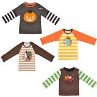 Bebé de Halloween del remiendo camisetas de algodón de 5 colores de la manga larga de calabaza impreso raya del bordado Top ropa de niños tops de las muchachas 0-9T 04