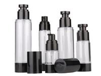 15 ml 30 ml 50ml 80ml 100 ml 120 ml Boş Siyah Havasız Pompa Dağıtıcı Şişe Doldurulabilir Losyon Krem Vakum Sprey Şişe Atomizer