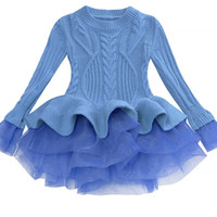Bibihou menina vestido de inverno 2017 moda primavera outono princesa menina manga comprida camisola tutu dress kid vestidos de natal para a menina y190515