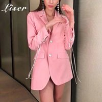 Liser 2019 New Summer Women Jackets V Neck Lace Up Button Ja...