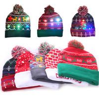 LED kar tanesi Fawn Noel Örme Cap Parti Şapkası Kadın Çocuklar Sıcak Topu Şapka doğum günü partisi Noel kasketleri Şapka WX9-1775