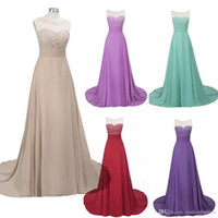 Cheap in stock Long Prom Dresses Illusion Neck Beads Chiffon...