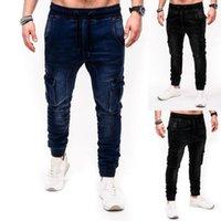 Jeans pour homme Mode Hommes avec poches latérales Casual Elastic Taille Denim Double pantalon déchiré Homme Tayle Elastique # Y2