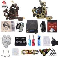 Yilong Professional Полный комплект татуировки 2 Top Machine Gun чашки чернил 50 смесь 10 иглы питания 3000246-12 T200609