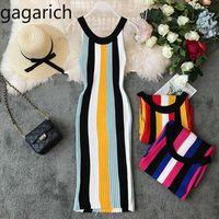 Vestidos casuais gagarich striped moda mulheres 2021 primavera verão robe femme bodycon camisola vestido sem mangas trecho de malha vestidos