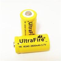 Alta qualità yellower UltreFire CR123A 16340 2600mAh 3.7V batteria al litio ricaricabile di trasporto
