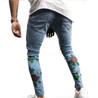 Moda Skinny Moda Günlük Marka Delik İnce Biker yazdır Jeans Erkekler Erkek Motosiklet Jeans Denim Pantolon Ripped