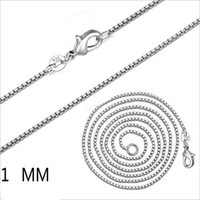925 Sterling Silver Plated 1MM box chain Necklaces unisex Lo...