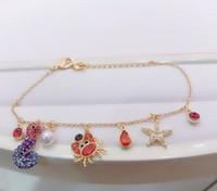 2019 nuevas pulseras pulseras decoración cangrejo de caballito de mar estrellas de mar para la mujer regalo