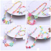 Donne in resina set di gioielli per bambini Collane ragazze collana perle braccialetto fiore bambini geometrica borda la collana Bambini Estate