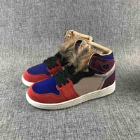 New High 1 OG Aleali May Release in taglia donna Bordeaux Sunset Tint-Rush Red Blue Sport Shoes 1s faux hair tongues Designer Sneakers